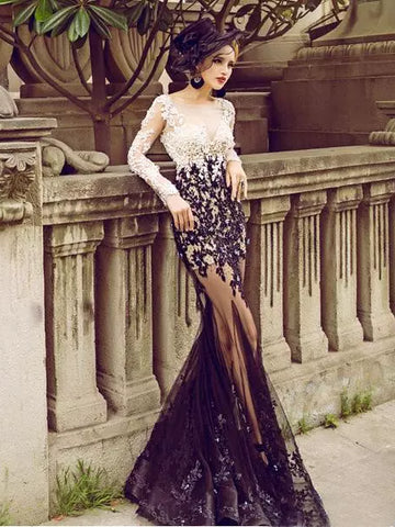 Chic Sexy Trumpet/Mermaid Black Prom Dress Applique Scoop Tulle Long Sleeve Evening Dress Party Dress AM160