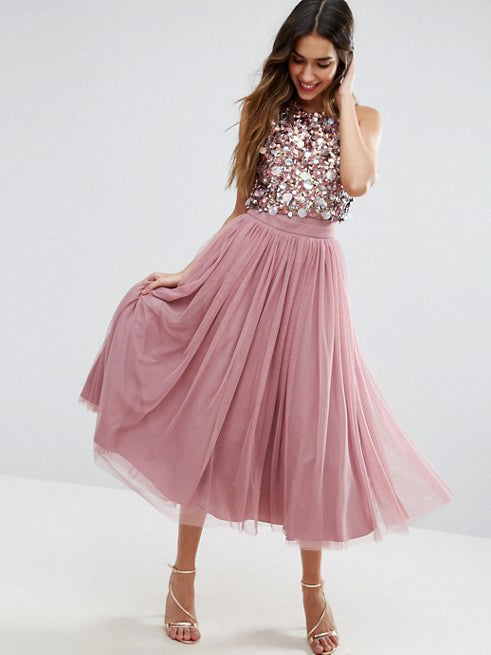 Chic A-line Two Pieces Scoop Pink Prom Dress Sleeveless Tea Length Tulle Evening Dress Party Dress AM161