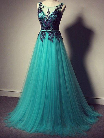 Chic A-line Blue Scoop Tulle Modest Applique Long Prom Dress Evening Dress AM163