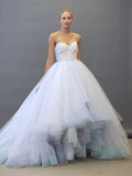 Chic Aline Ball Gown Sweetheart Asymmetrical White Tulle Lace Long Prom Dress Wedding Dress AM164