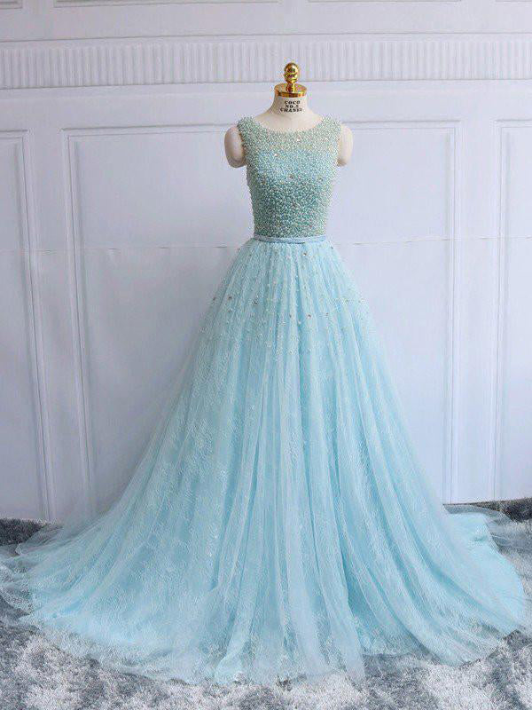 Chic A-line Prom Dress,Scoop Blue Tulle Beading Evening Dress Party Dress AM165