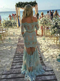 Chic Trumpet/Mermaid Blue Off-the-shoulder Tulle Modest Lace Long Prom Dress Evening Dress AM166