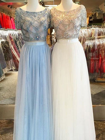 Chic A-line Blue Prom Dress,Bateau Tulle Beading Short Sleeve Evening Dress Party Dress AM167
