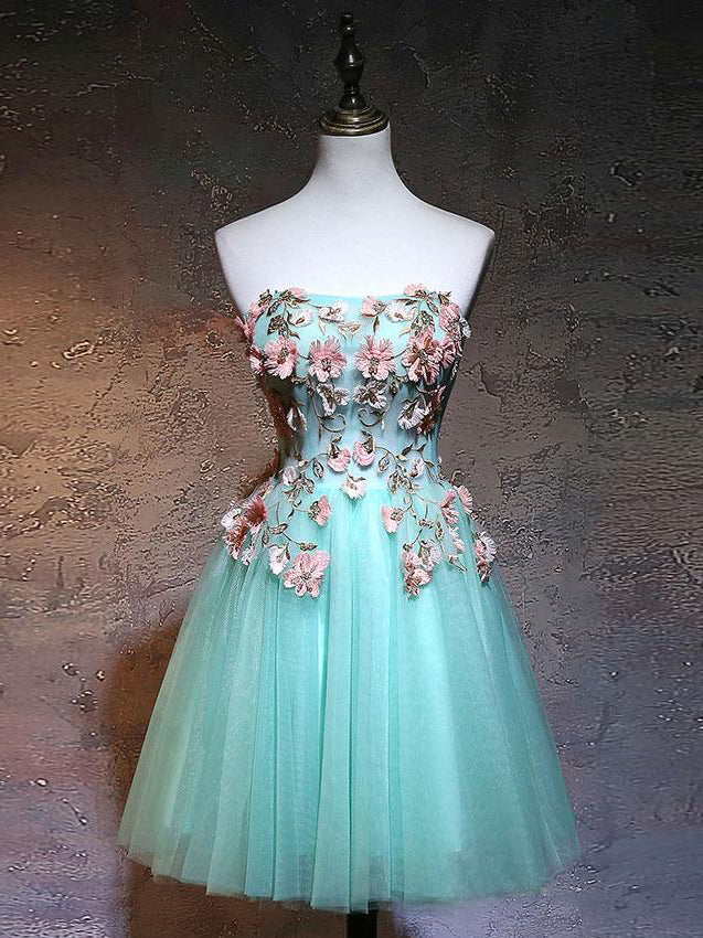 Chic A-line Strapless Blue Homecoming Dress Tulle Applique Short Prom Dress Party Dress AM170