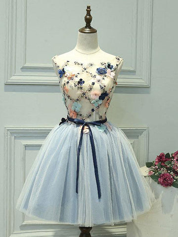 Chic A-line Bateau Blue Homecoming Dress Tulle Applique Short Prom Dress Party Dress AM171
