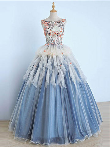 Chic A-line Ball Gown Prom Dress,Bateau Blue Tulle Appliques Evening Dress Party Dress AM172