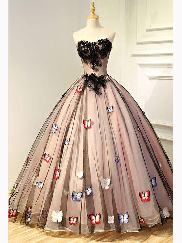 Chic A-line Ball Gown Prom Dress,Sweetheart Black Tulle Appliques Evening Dress Party Dress AM173