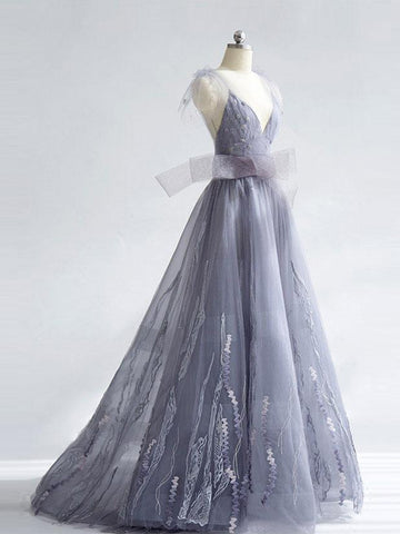 Chic A-line Prom Dress,Gray Tulle V-Neck Bowknot Appliques Evening Dress Party Dress AM174