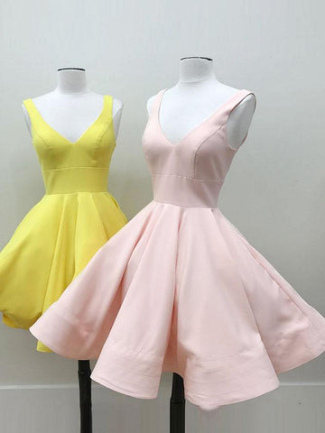Chic A-line V-neck Pink Yellow Simple Short Prom Dress Homecoming Dress AM175