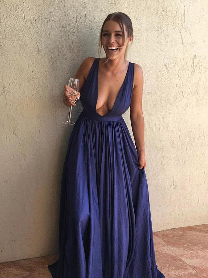 Chic A-line Blue Prom Dress Simple V-neck Chiffon Sleeveless Evening Dress Party Dress AM176