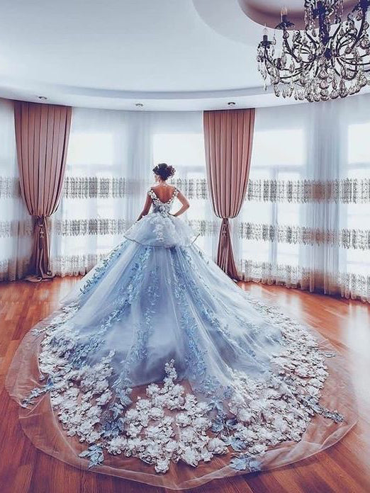 A-line Ball Gown Wedding Dress,Princess Scoop Organza Silver Appliques Wedding Dress AM177