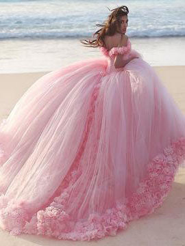 Chic A-line Ball Gown Pink Off-the-shoulder Tulle Modest Long Prom Dress Evening Dress AM178