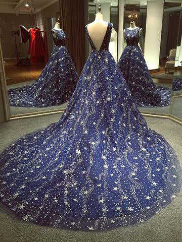 Chic A-line Ball Gown Dark Navy Scoop Sweep/Brush Train Tulle Modest Rhinestone Long Prom Dress Evening Dress AM179