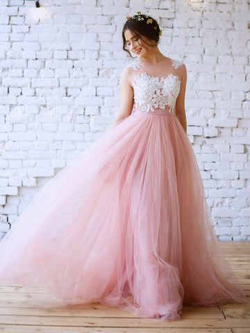 Chic A-line Pink Prom Dress,Bateau Tulle Applique Sleeveless Evening Dress Party Dress AM180