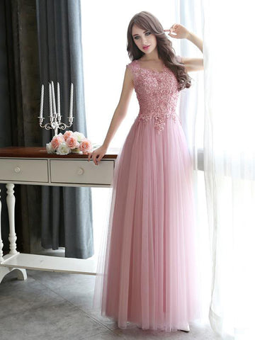 Chic A-line Pink Prom Dress,Bateau Tulle Applique Sleeveless Evening Dress Party Dress AM181