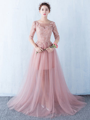 Chic A-line Pink Prom Dress,Scoop Tulle Applique Half Sleeve Evening Dress Party Dress AM182