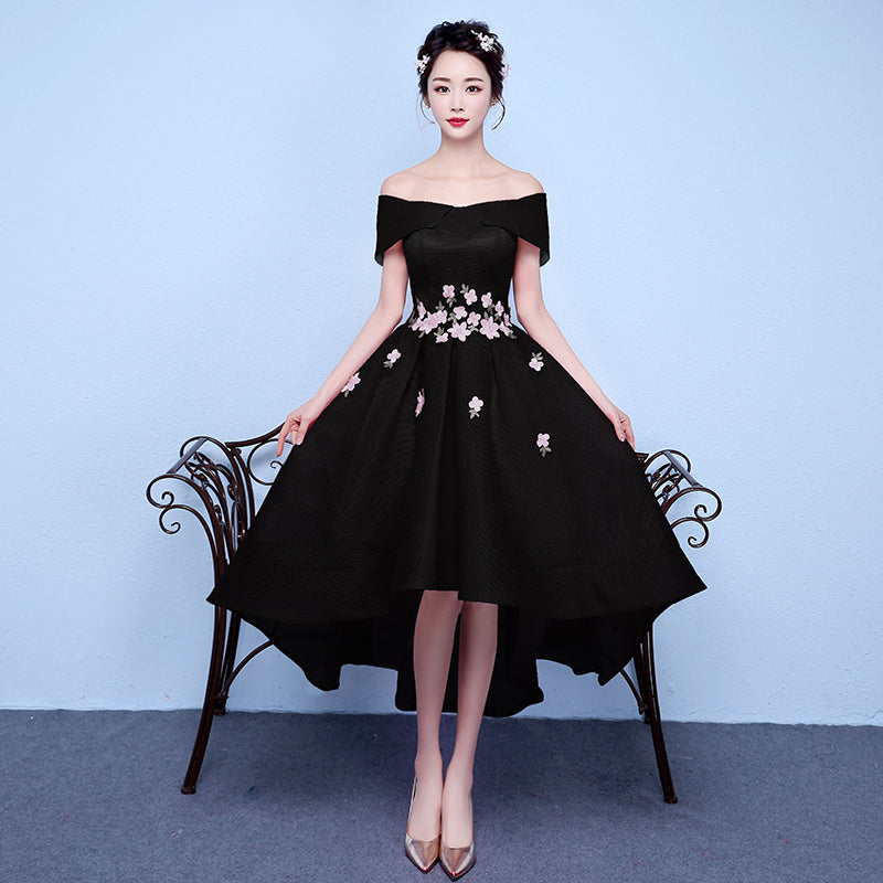 6b981ca3ddd8 ... Chic A-line Off-the-shoulder Pink Applique Asymmetrical Short Prom  Dress Homecoming ...