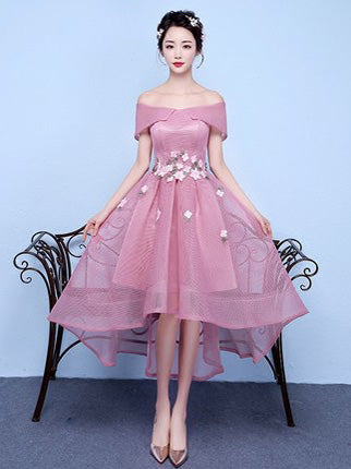 Chic A-line Off-the-shoulder Pink Applique Asymmetrical Short Prom Dress Homecoming Dress AM184