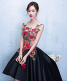 Chic A-line Asymmetrical Scoop Black Appliques Sleeveless High Low Short Prom Dress Homecoming Dress AM185