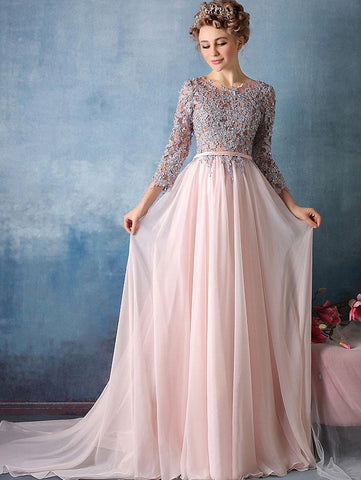Chic A-line Scoop Pink 3/4 Sleeve Chiffon Applique Long Prom Dress Evening Dress AM189