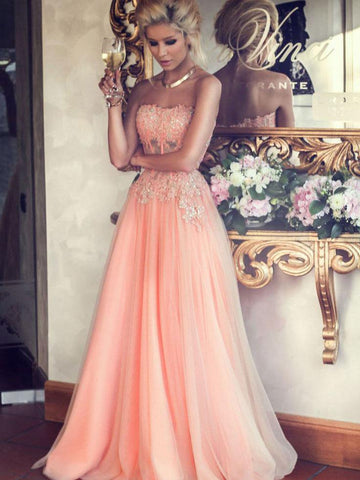 Chic A-line Sweetheart Sleeveless Tull Applique Long Prom Dress Evening Dress AM190