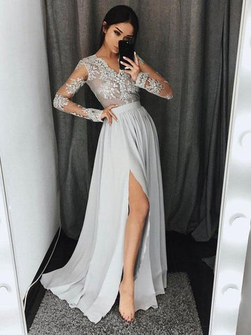 Chic A-line V-neck Silver Long Sleeve Chiffon Lace Long Prom Dress Evening Dress AM191
