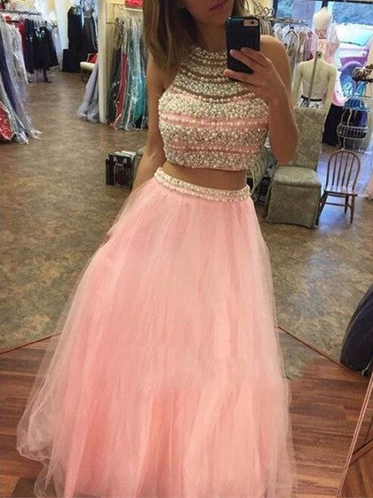 Chic A-line Two Pieces Pink Tulle Beading Sleeveless Long Prom Dress Evening Dress AM192