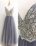Chic A-line V-neck Silver Tulle Beading Sleeveless Long Prom Dress Evening Dress AM194