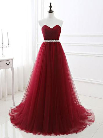 Chic A-line Sweetheart Burgundy Tulle Simple Sleeveless Long Prom Dress Evening Dress AM199