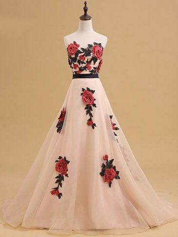 Chic A-line Sweetheart Organza Appliques Long Prom Dress Evening Dress AM201