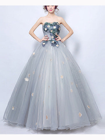 Chic A-line Silver Strapless Organza Appliques Long Prom Dress Evening Dress AM202