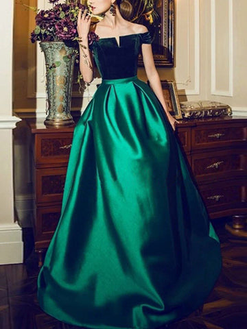 Chic A-line Off-the-shoulder Elastic Woven Satin Hunter Simple Long Prom Dress Evening Dress AM203