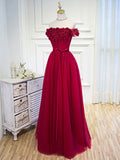 Chic A-line Burgundy Off-the-shoulder Tulle Appliques Long Prom Dress Evening Dress AM204