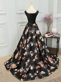 Chic A-line Scoop Satin Black Lace Sleeveless Long Prom Dress Evening Dress AM205