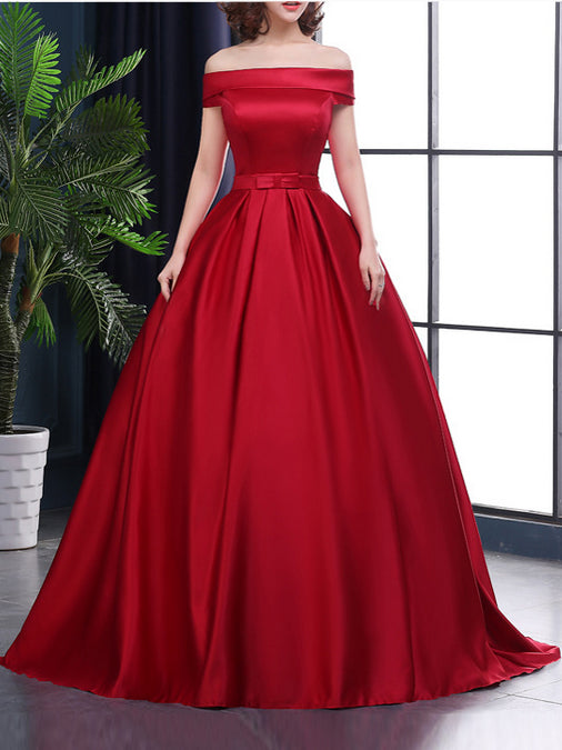 Chic A-line Off-the-shoulder Satin Simple Red Sleeveless Long Prom Dre –  AmyProm 11d34f9aa