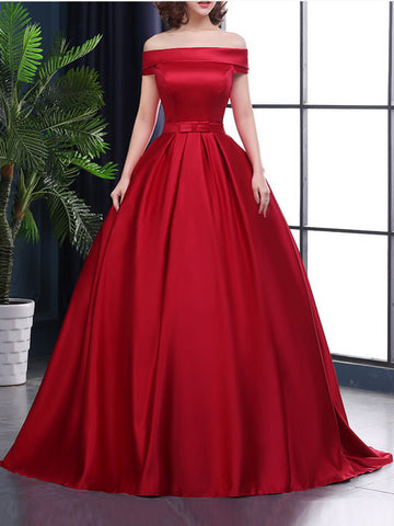 Chic A-line Off-the-shoulder Satin Simple Red Sleeveless Long Prom Dress Evening Dress AM206
