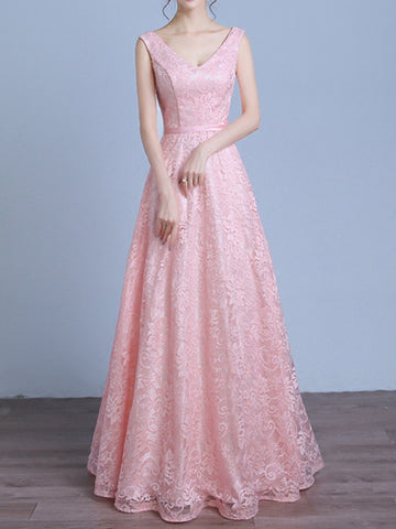 Chic A-line V-neck Tulle Lace Pink Sleeveless Long Prom Dress Evening Dress AM207