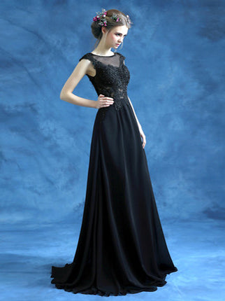 Chic A-line Scoop Chiffon Black Lace Long Prom Dress Evening Dress AM208