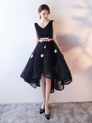 Chic A-line V-neck Dark Navy Asymmetrical Short Prom Dress Homecoming Dress AM209