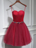 Chic A-line Sweetheart Burgundy Simple Tulle Short Prom Dress Homecoming Dress AM210