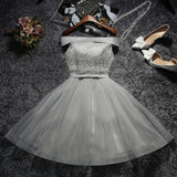 Chic A-line Off-the-shoulder Tulle Pink Lace Short Prom Dress Homecoming Dress AM212