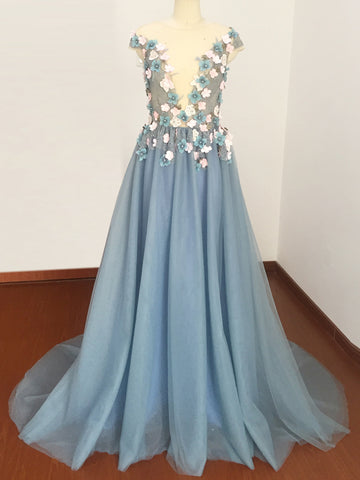 Chic A-line Bateau Blue Applique Tulle Short Sleeve Long Prom Dress Evening Dress AM213