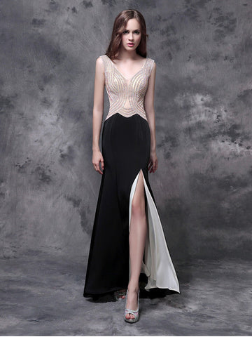 Chic Sheath/Column Chiffon V-neck Black Beading Long Prom Dress Evening Dress AM216