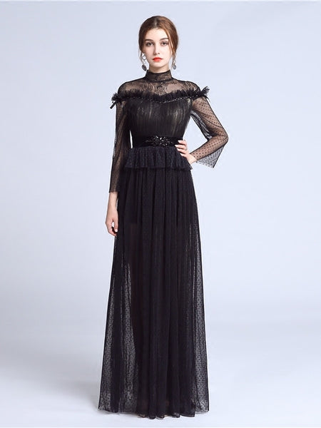 Chic Sheath/Column Tulle High Neck Black Lace Long Sleeve Prom Dress Evening Dress AM217
