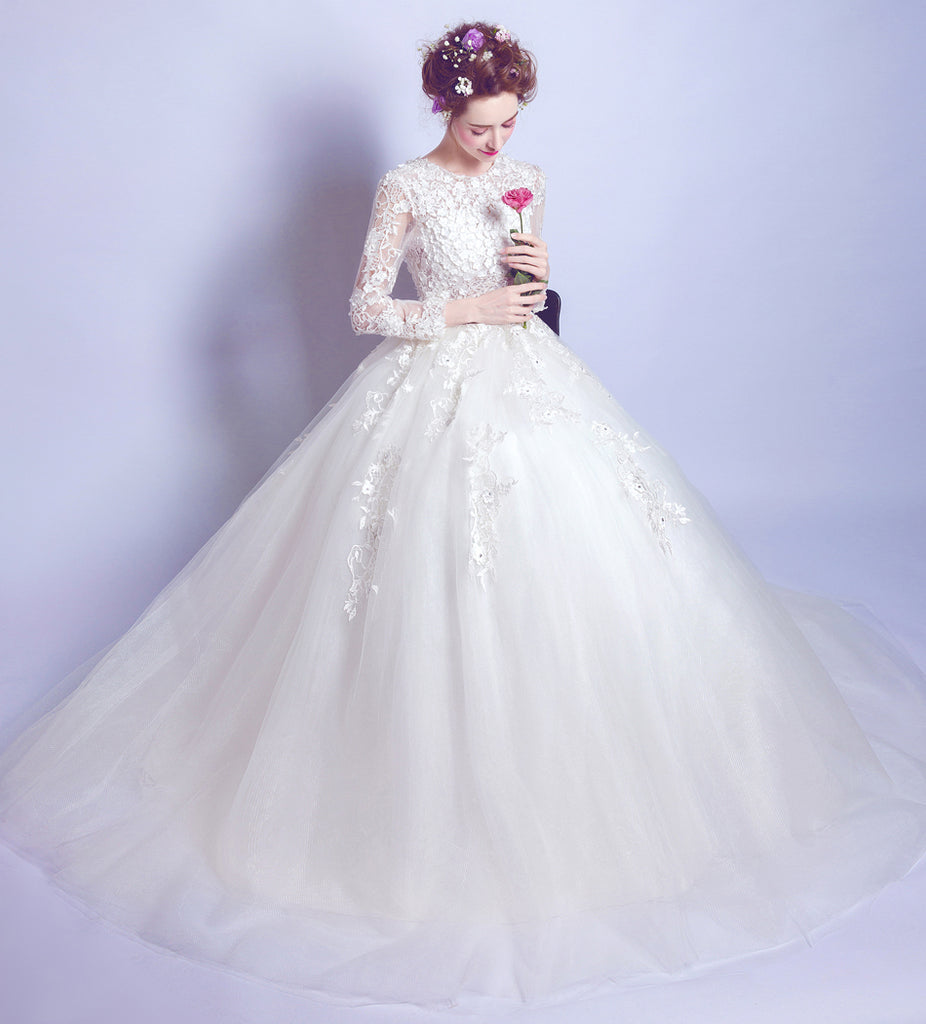Chic A Line Ball Gown Scoop White Applique Long Sleeve Prom Dress Wedd Amyprom