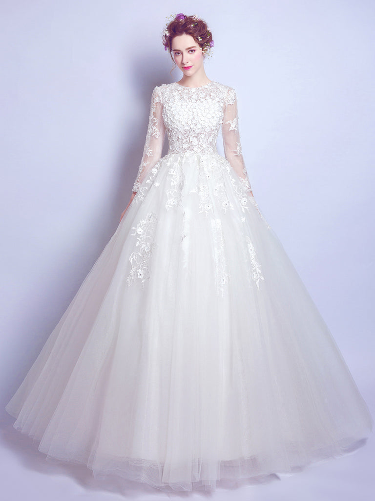 Chic A Line Ball Gown Scoop White Applique Long Sleeve Prom Dress