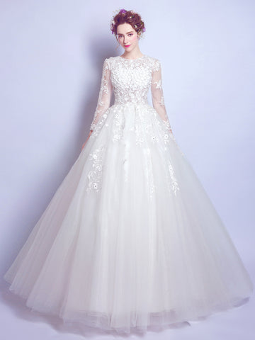 Chic A-line Ball Gown Scoop White Applique Long Sleeve Prom Dress Wedding Dress AM218