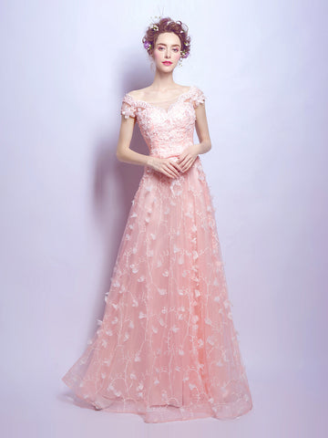Chic A-line Off-the-shoulder Pink Tulle Applique Short Sleeve Prom Dress Evening Gowns AM220
