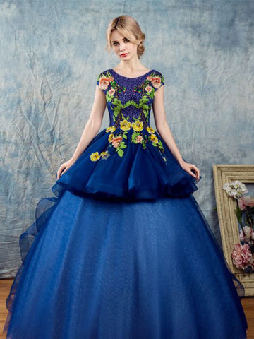 Chic A-line Ball Gowns Dark Blue Tulle Applique Short Sleeve Prom Dress Evening Gowns AM221