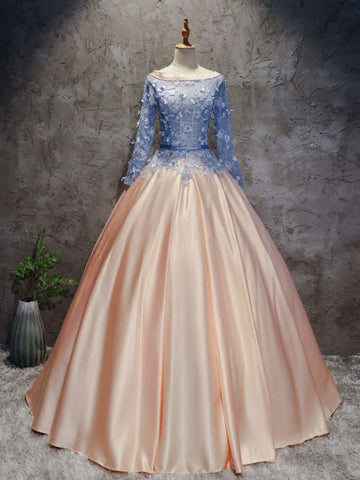 Chic A-line Ball Gowns Pink Blue Satin Applique Long Sleeve Prom Dress Evening Gowns AM222